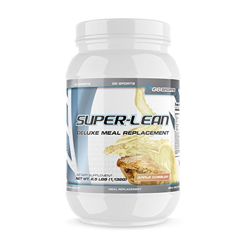 G6 Sports Nutrition Super-Lean Deluxe Meal Replacement (32g Protein, 7g Fiber, 25 Added Vitamins & Minerals) - 2.5lb Jar - Apple Cobbler