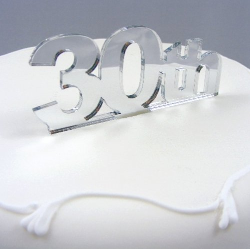 """30th"" Cake Topper Silver Acrylic Mirror - Large"