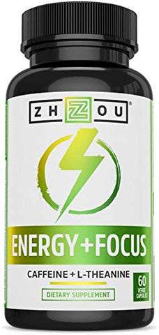 Zhou Energy + Focus | Caffeine with L-Theanine | Focused Energy for Your Mind & Body | #1 Nootropic Stack for Cognitive Performance | 60 VegCaps