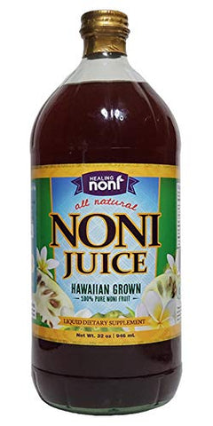 Healing Noni - 100% Pure Hawaiian Noni Juice - 32oz Glass Bottle