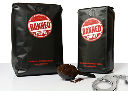 Banned Coffee Ground World's Strongest Coffee - Our Best Super Strong Medium Dark Roast (Ground, 1 lb)