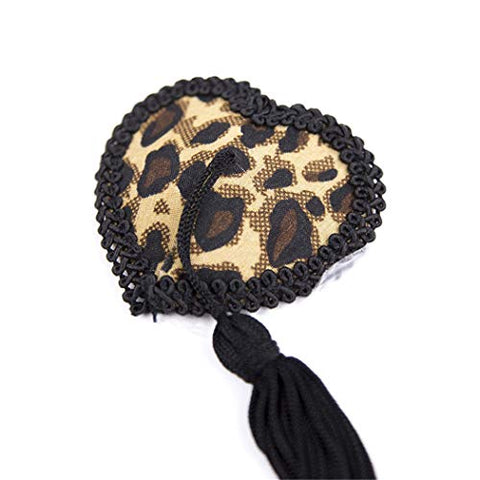 Role Play Game Set Black Frilled Leopard Print Adjustable Clamps Sticker Masquerade Hallowmas Cosplay Costume Accessory