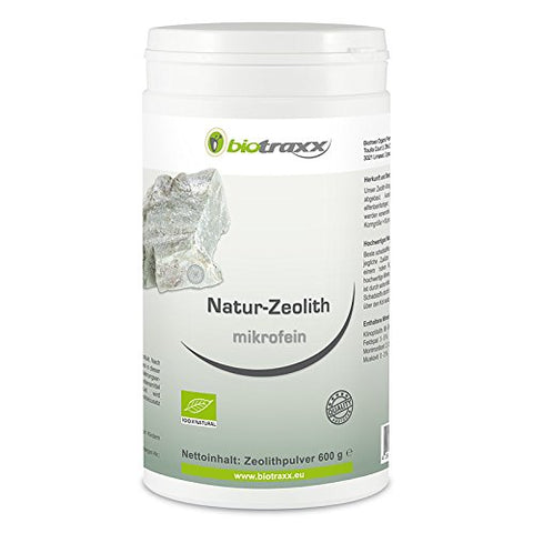 Biotraxx 100% Natural micro fine Zeolite pure powder with a Clinoptilolite proportion of approx. 95% - 600g powder - Made in Germnay