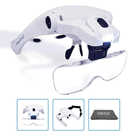 MagniPros LED Illuminated Headband Magnifier Visor with Bonus Cleaning Cloth and 5 Detachable Lenses 1X, 1.5X, 2X, 2.5X 3.5X - (Upgraded Version) Hands-Free Head Worn Lighted Magnifying Glass