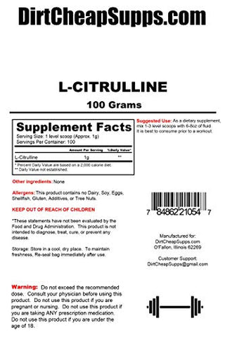 DirtCheapSupps L-Citrulline Powder 100g (Unflavored)