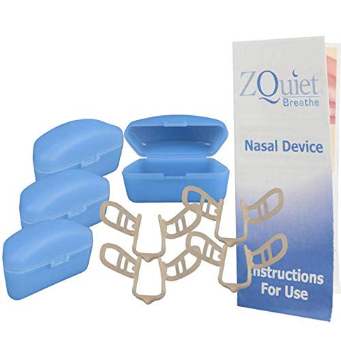 ZQUIET Breathe Anti-Snoring Nasal Dilator Breathe Aid with Storage Case (4ct. - 60 Day Supply) - Natural, Simple, Comfortable Snoring Solution to Increase Airflow and Relieve Sinus Congestion