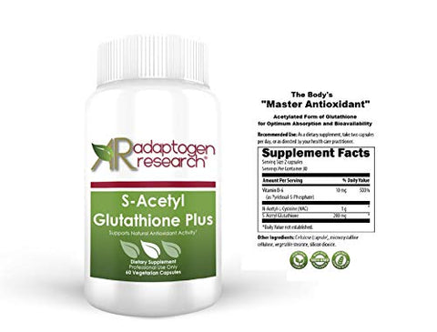 S-Acetyl Glutathione Plus NAC 1000mg  Vitamin B6 10mg | Acetylated Form of Glutathione |Optimum Absorption & Bioavailability |Powerful Antioxidant | 60 Vegetarian Capsules | Adaptogen Research