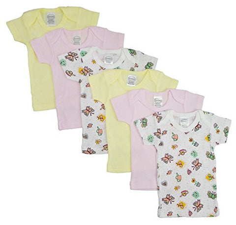 Girls Pastel Variety Short Sleeve Lap T-shirts 6 Pack