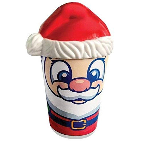Fun Sweets (1) Tub Cotton Candy - Cherry Berry Flavor - Holiday Edition with Santa Tub and Santa Hat Design Coin Bank - Net Wt. 1.5 oz