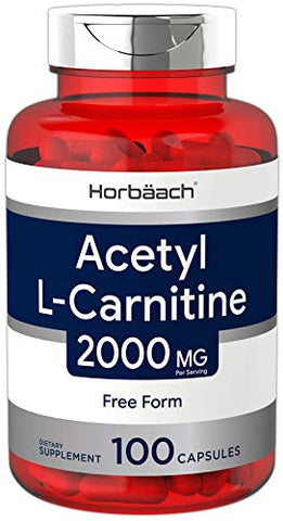 Acetyl L-Carnitine (2000 mg) 100 Capsules | ALCAR | Max Potency | Non-GMO, Gluten Free | by Horbaach
