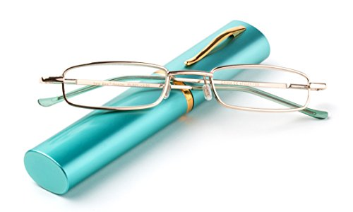"Newbee Fashion -""Pocket"" Readers Ultra Compact Spring Temple Reading Glasses w/Portable Pocket Clip Aluminum Case Teal +1.50"