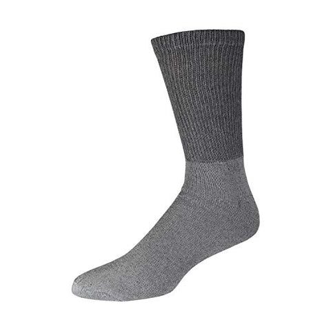Big and Tall Diabetic Cotton Crew Socks, King Size Mens Athletic Crew Socks (13-16, Gray) - 3 pairs