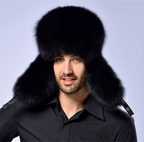 Winter Hat Thick Cap Fashion Luxury Wool Warm Lovely Faux Fur Headband Outdoor Sports Ski Earwarmer (Black)