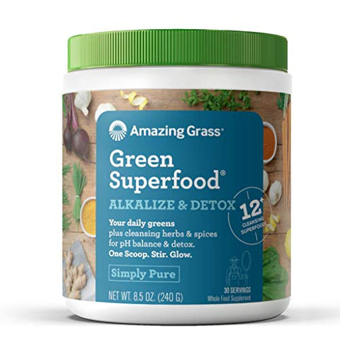 Amazing Grass Green Superfood Alkalize & Detox: Cleanse With Super Greens Powder, Digestive Enzymes