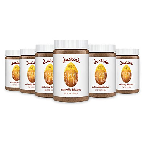 Justin's Honey Almond Butter, No Stir, Gluten-free, Non-GMO, Responsibly Sourced, 6 Jars, 16oz each