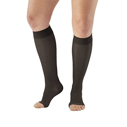 Ames Walker AW Style 44 Sheer Support 20 30mmHg Open Toe Knee Highs Black LG