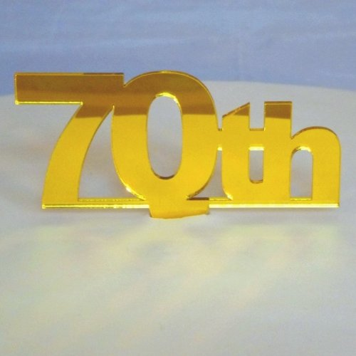 """70th"" Cake Topper Yelllow Mirror - 6cm number height/4cm spike"