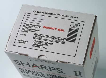 Sharps Disposal By Mail, 2 Gal., Hinged