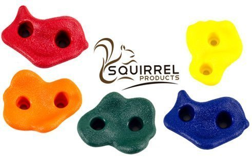 "Squirrel Products Kids Large Rock Climbing Holds (10 Pack) With Mounting Hardware For Up To 1"" Insta"
