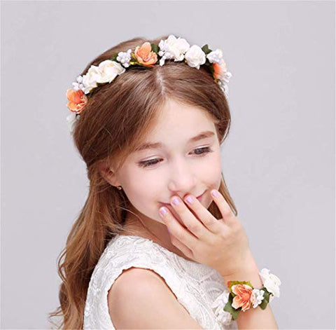 Forest & Rural Style Orange White Queen Princess Bridal Flower Garland Wristband Wreath Headband Crown Hair Decor
