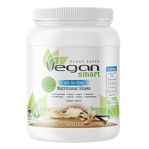 Vegansmart Plant Based Vegan Protein Powder by Naturade, All-In-One Nutritional Shake - Vanilla (15 Servings)
