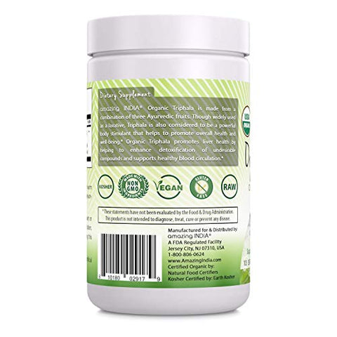 Amazing India USDA Certified Organic Triphala Powder (Non-GMO) - 16 oz-Raw, Vegan- Gluten-Free, Plant-Based Nutrition Supports Detoxification and Regularity, Promotes Digestive Health
