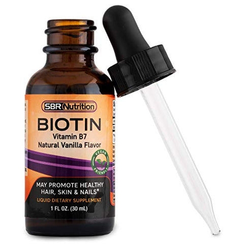 Sbr Nutrition Biotin Liquid Drops, 5000mcg Per Serving (60) 1.0 Fl.Oz (30ml) Vanilla