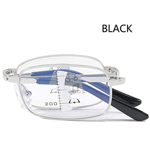 Multi-Focus Reading Glasses, Far/Near Dual-use, Folding Card Reader Anti-Blue Light Lens, Anti-Fatigue Eye Protection, Ultra Clear and Comfortable, Easy to Carry