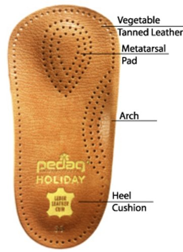 pedag HOLIDAY Orthotic Inserts | 3/4 Length, Thin Leather, Ultra Light, Semi-Rigid Shoe Insoles with Metatarsal Pad & Heel Cushion, Tan, US W8
