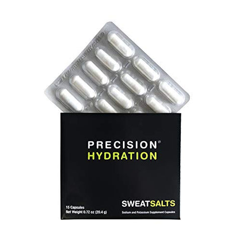 Precision Hydration SweatSalts - 15 Blister Packed (Waterproof) Electrolyte/Salt Capsules - Combat Cramp - All Natural Digestion-Friendly Formula - Gluten Free, Vegan/Vegetarian Friendly