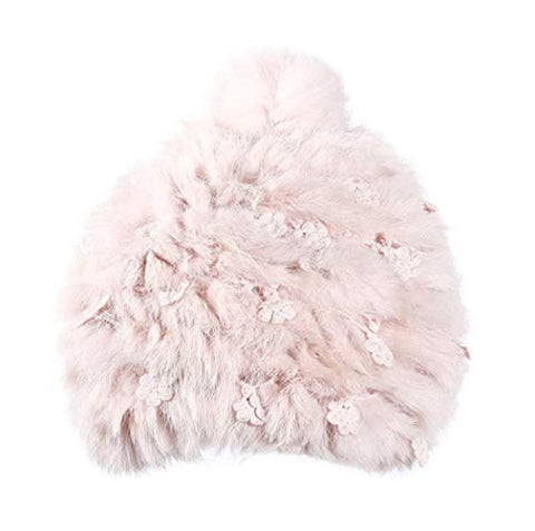 Winter Hat Thick Cap Earmuffs Rabbit Hair Ball Wool Warm Lovely Faux Fur Headband Outdoor Sports Ski Earwarmer (Pink)