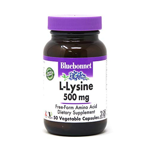 Bluebonnet L-Lysine 500 mg Vitamin Capsules, 50 Count