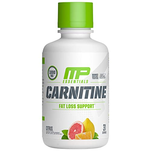 MP Essentials Carnitine Core Liquid Diet Supplement,  MusclePharm Weight Loss, Helps Reduce Body Fat, Supports Athletic Performance and Endurance, Citrus, 31 Servings