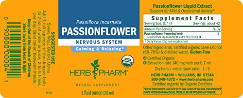 Herb Pharm Certified Organic Passionflower Liquid Extract for Mild and Occasional Anxiety - 1 Ounce