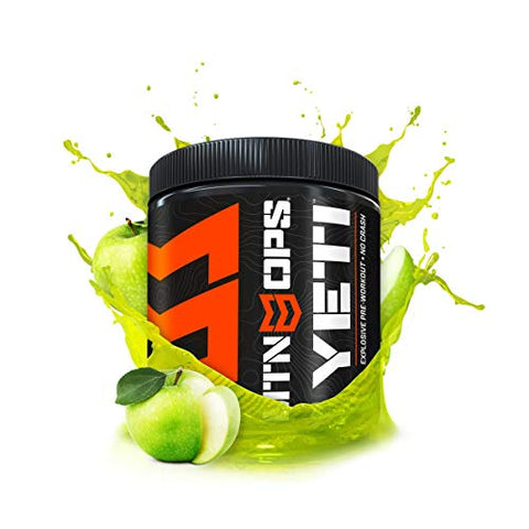 MTN OPS Yeti Monster Pre-Workout Powder Energy Drink 30-Serving Tub, Green Apple