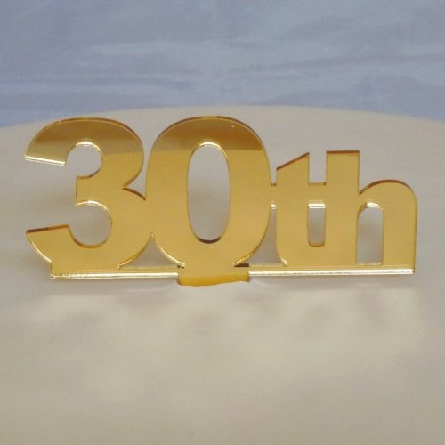 """30th"" Cake Topper Gold Mirror Large"