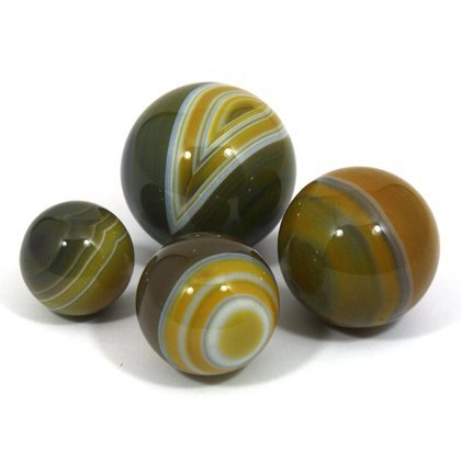 CrystalAge Banded Agate Sphere ~Golden Green - SAGY Small