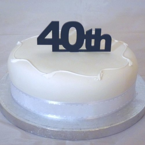 """40th"" Cake Topper Black Solid Acrylic - Large"
