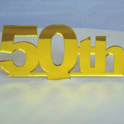 """50th"" Cake Topper Yelllow Mirror Large"