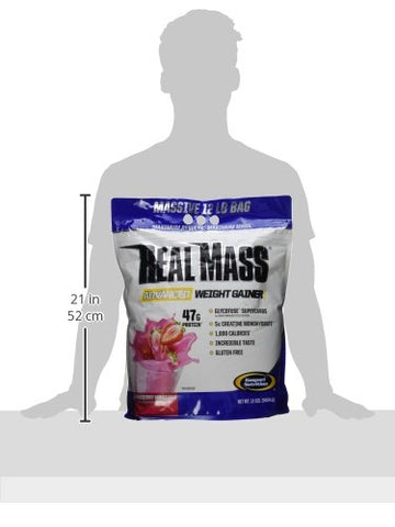 Gaspari Nutrition Real Mass Advanced Weight Gainer, Strawberry Milkshake, 12 Pound