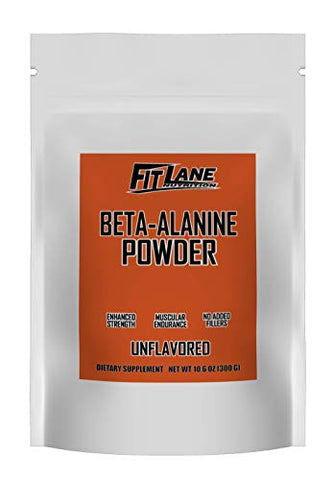 Beta Alanine Powder. Bulk Pre Workout Supplement by Fit Lane Nutrition. 3000mg per Serving. Pure Powder. Best Value. 300 Grams Unflavored.