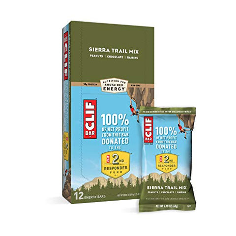 CLIF BARS - Energy Bars - Sierra Trail Mix - Made with Organic Oats - Plant Based Food - Vegetarian - Kosher (2.4 Ounce Protein Bars, 12 Count)