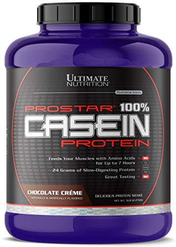 Ultimate Nutrition Prostar Micellar and Hydrolyzed Casein Protein Powder - Fat Free Overnight Muscle Growth and Recovery with BCAAs, 5 Pounds, Chocolate