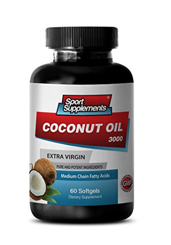 Extra Virgin Coconut Oil Cold Pressed Unrefined - Extra Virgin Coconut Oil 3,000mg - Premium Coconut Oil Supplement (1 Bottle 60 Softgels)