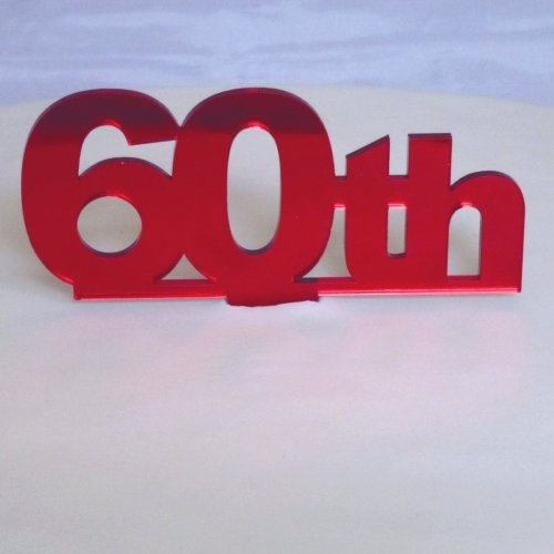 """60th"" Cake Topper Red Mirror - 6cm number height/4cm spike"