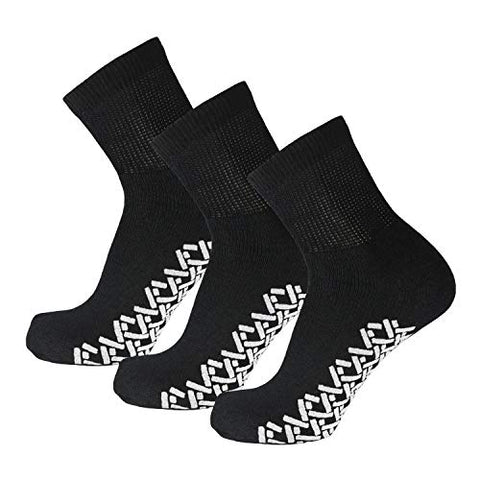 3 Pairs of Non-Skid Diabetic Cotton Quarter Socks with Non Binding Top (Black, 9-11)