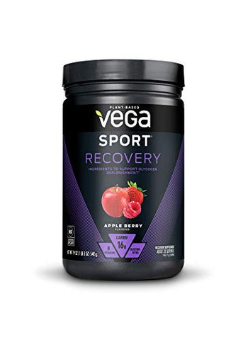 Vega Sport Recovery, Apple Berry - Post Workout Recovery Drink Mix with Electrolytes, Carbohydrates, B-Vitamins and Protein, Vegan, Lactose Free, Dairy Free, Gluten Free, Non GMO (20 Servings)