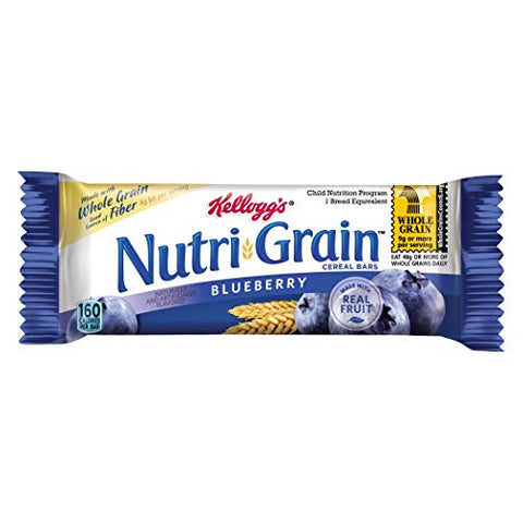 Kelloggs Nutrigrain Blueberry Cereal Bar, 1.55 Ounce -- 96 per case.