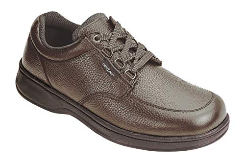 Orthofeet Proven Relief of Foot and Heel Pain. Extended Widths. Best Plantar Fasciitis Orthopedic Diabetic Men's Oxford Shoes, Avery Island Brown