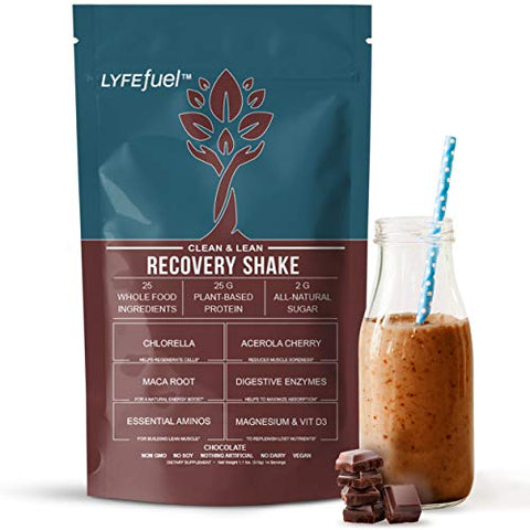 Post-Workout Recovery Shake by LYFE Fuel | All-in-One Sports Nutrition Drink for Rapid Muscle Replenishment | 25g Plant Based Protein Powder + Essential Amino Acids & Key Nutrients (Chocolate - 1 lb)